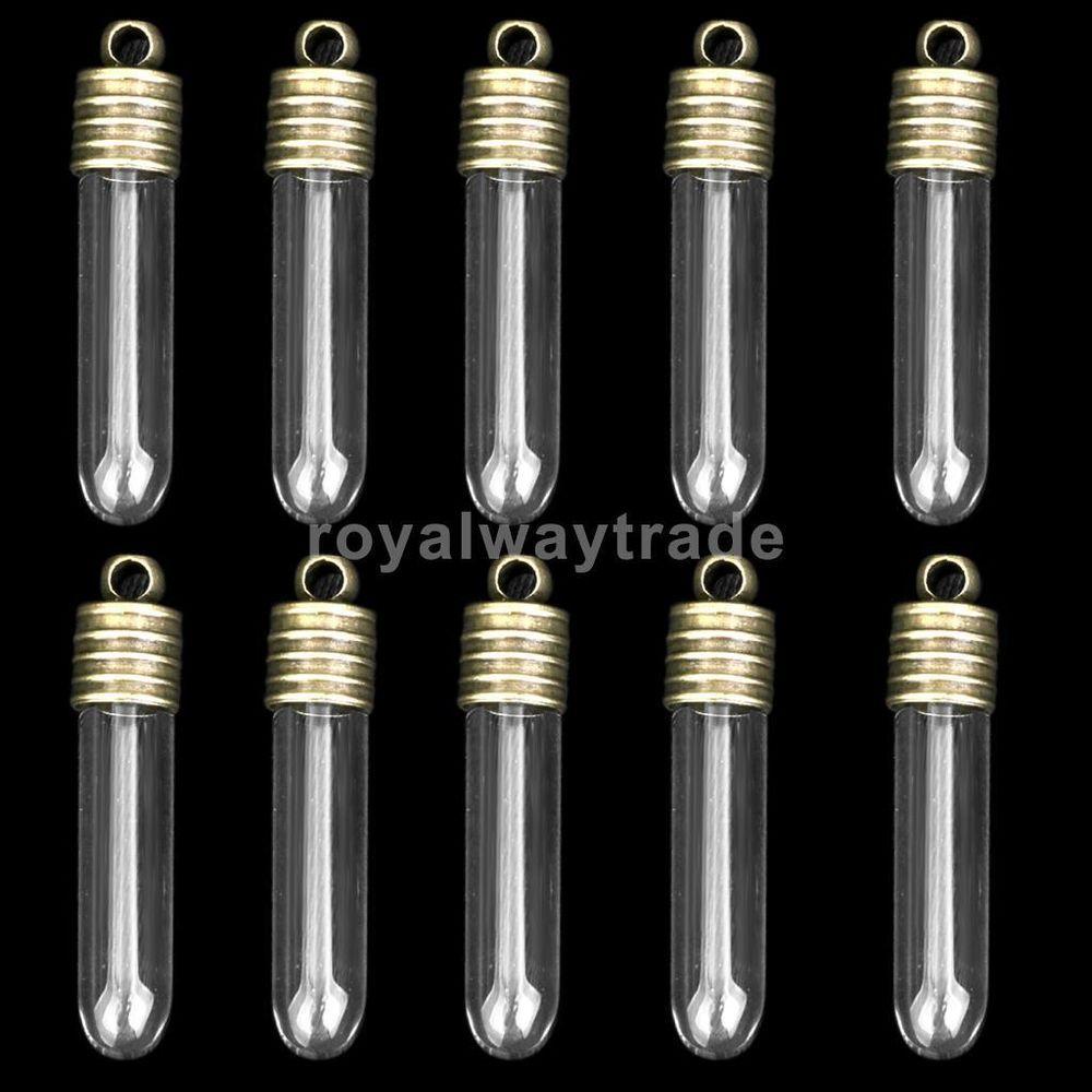 10 Handcraft Glass Wishing Bottle Necklace Pendant Globe Locket Charm With Hole