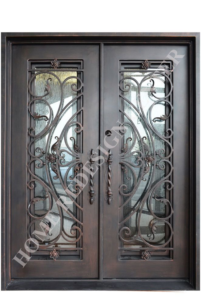 Marbella Wrought Iron Double Doors Operable Glass With Iron Pulls In Stock Wrought Iron Doors Iron Doors Double Doors