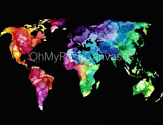 Watercolor world map digital download digital filing and craft watercolor world map digital download gumiabroncs Gallery