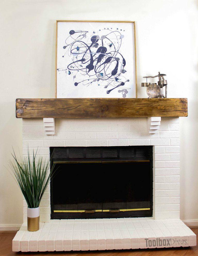How To Build A Rustic Faux Beam Mantel Faux Fireplace Diy Faux