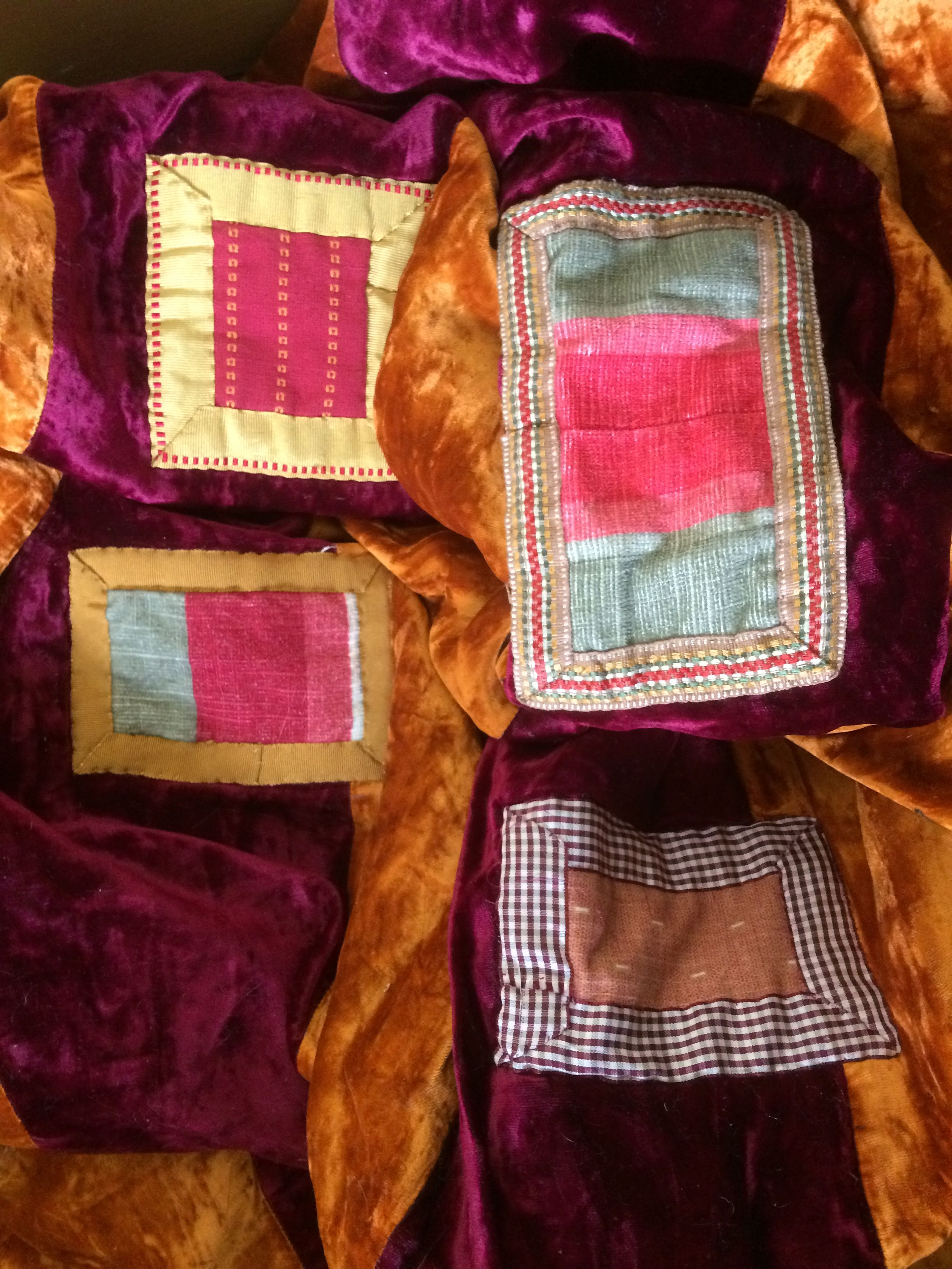 Patches on velvet patchwork quilt