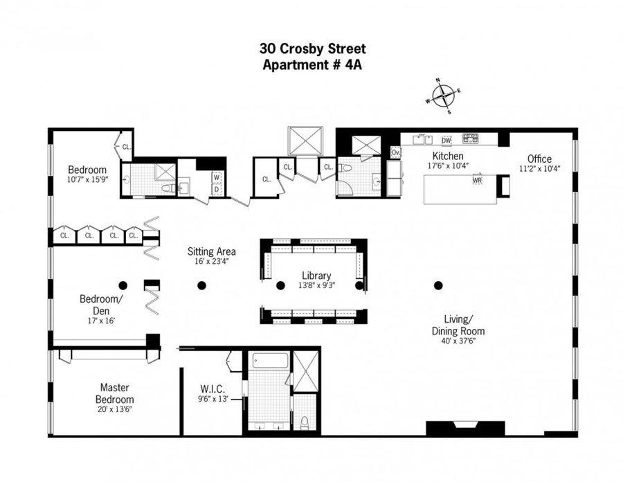 Chic And Wide Loft Style Apartment In Soho Nolita New York 4betterhome Loft Floor Plans Loft Style Apartments Floor Plan Layout