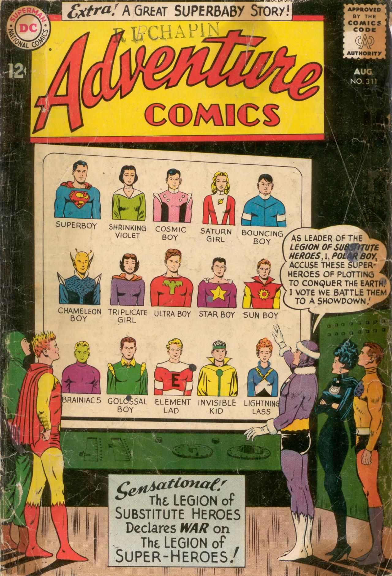 Adventure Comics 311, August 1963, cover by Curt Swan and George Klein
