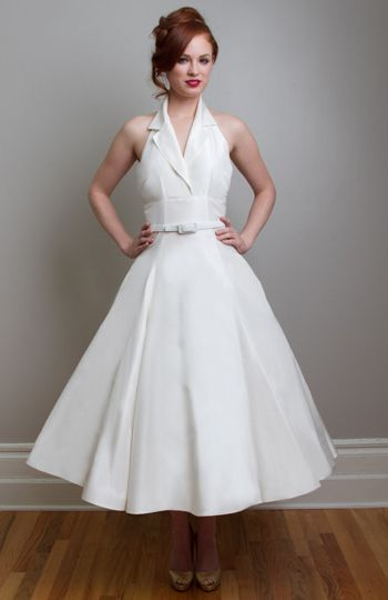 Halter Tea Length Wedding Dress