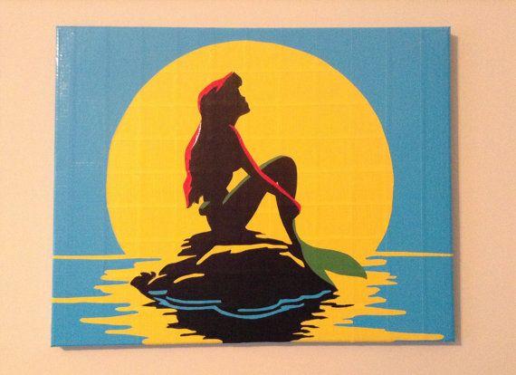 Ariel From The Little Mermaid Duct Tape By Sophisticatedduck Disney Canvas Art Mermaid Paintings Canvas Mini Canvas Art