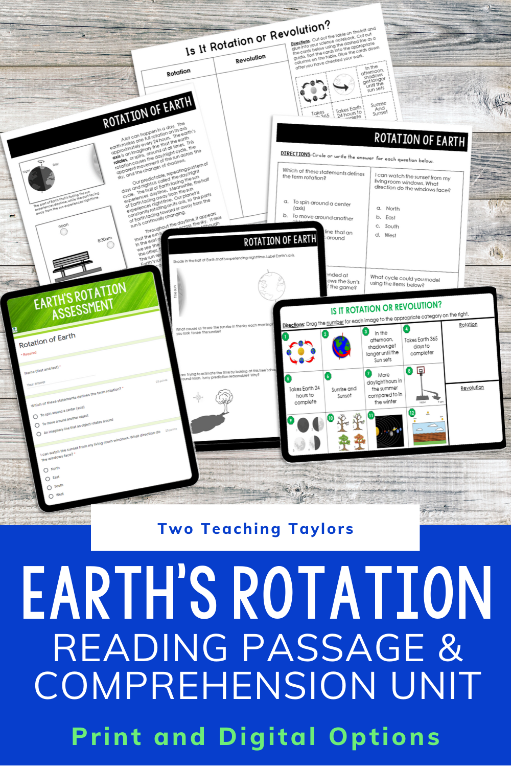 Rotation Of Earth Reading Passage With Comprehension Activities Upper Elementary Science Elementary Science Classroom Reading Passages [ 1500 x 1000 Pixel ]
