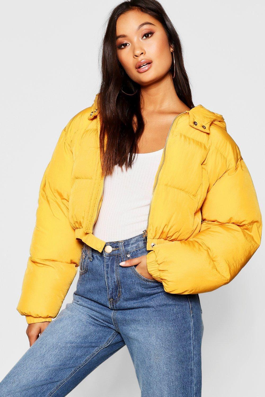 Crop Hooded Puffer Jacket Boohoo Yellow Puffer Jacket Cropped Jacket Outfit Jackets [ 1500 x 1000 Pixel ]