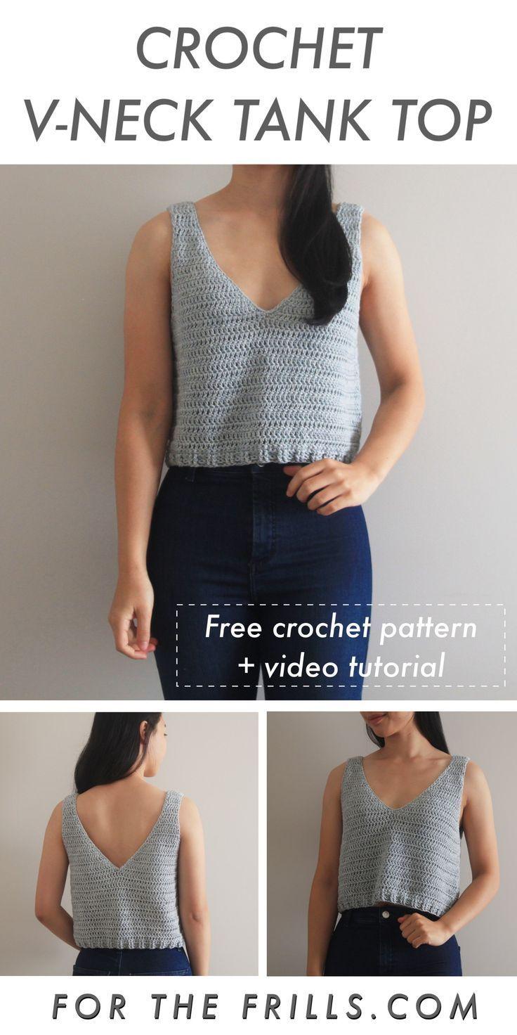 Easy Crochet Tank Top - Free pattern & video tutorial #knitting #crochet #Archit #crochetclothes