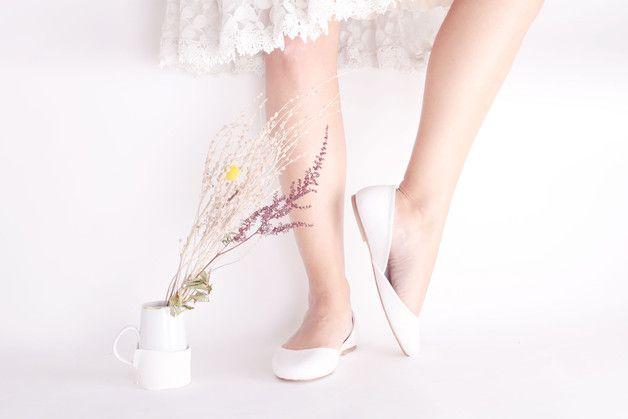 8162ca3e975 Romantic White Ballet Flats – White wedding flats with satin band ...