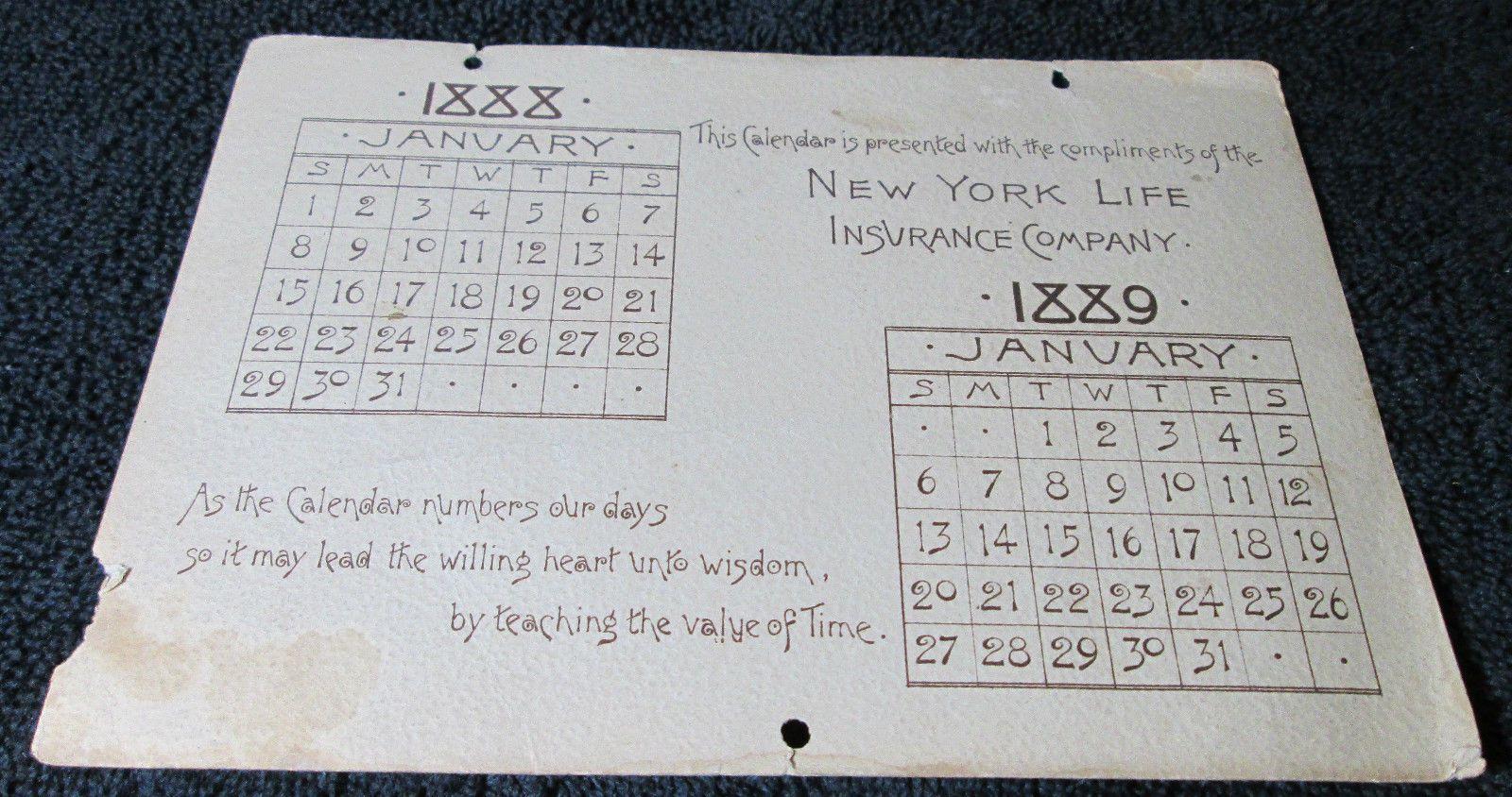 2/ 1887 1888 New York Life Insurance Calendar RARE Old Vintage ...