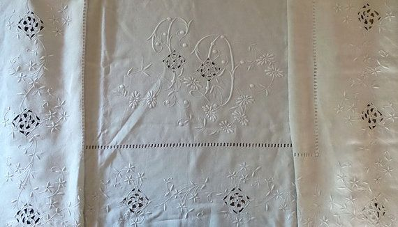 AMAZING Antique French Bed linen .French bed sheet .Pure linen . French linen sheet .