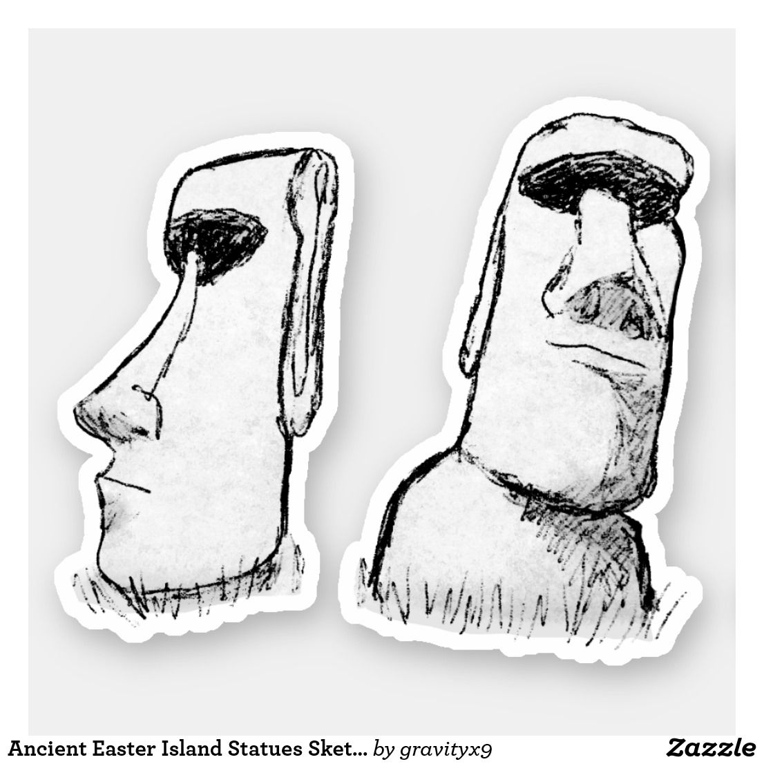 Ancient Easter Island Statues Sketch Sticker Zazzle Com Easter Island Statues Mermaid Statues Easter Island