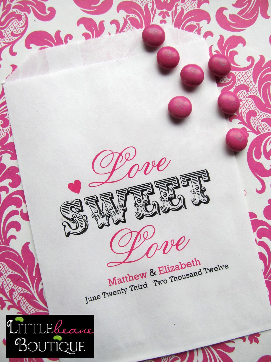 Wedding Candy Bags, Love Sweet Love, Favor bags, Candy Buffet ...