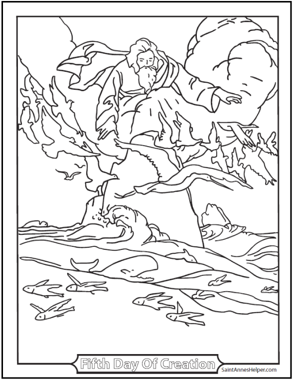 These Creation Coloring Pages Show God Creating Heaven And Earth Light Dark Plants