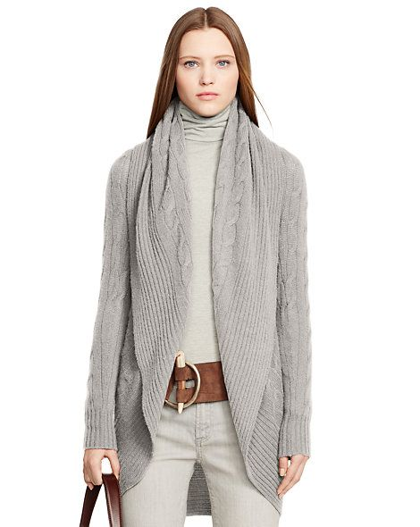 Cabled Cashmere Open Cardigan - Cardigans & Sweater Coats Sweaters ...