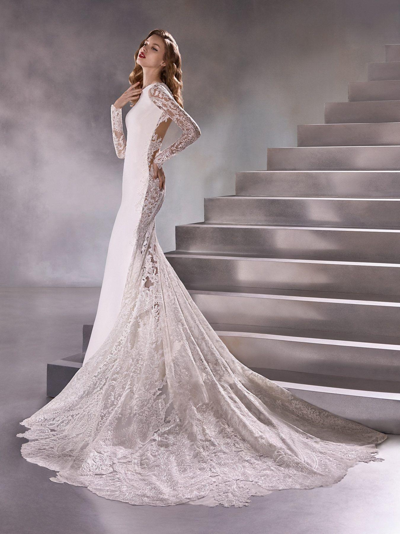Long Sleeve High Neck Sheath Wedding Dress With Lace Back ...