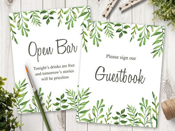 Watercolor Wedding Sign Printable Template Lovely Leaves With Green Wreath Diy Signs