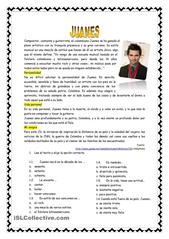 Juanes | Secondary spanish topics | Pinterest | Spanisch
