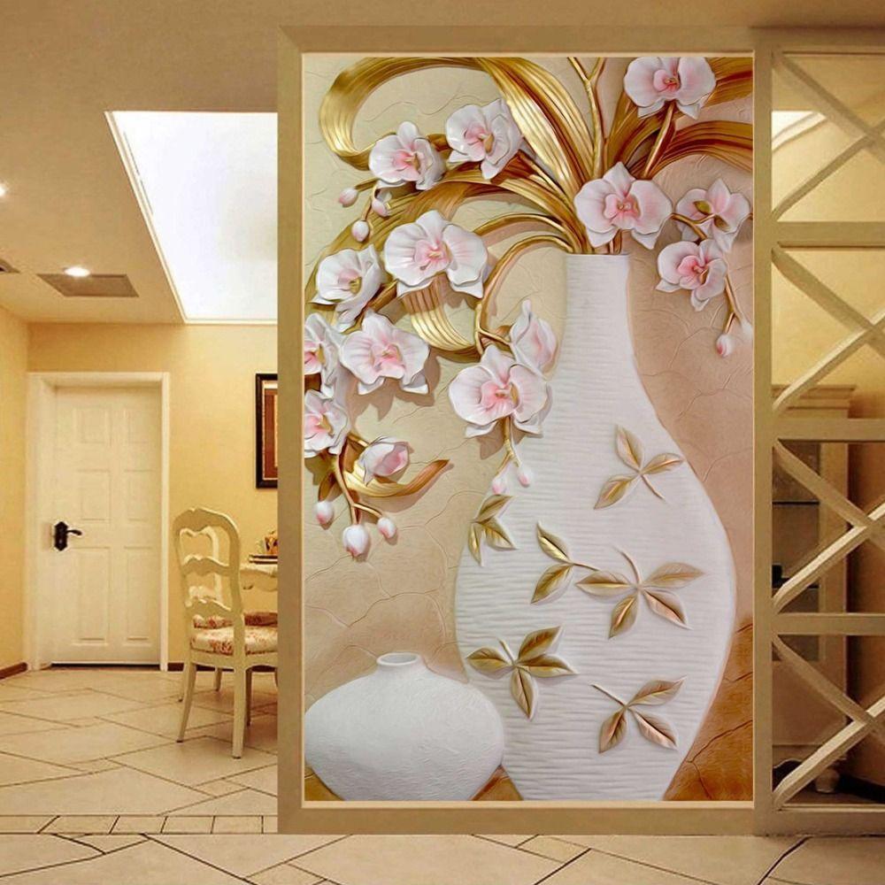 Custom 3d mural wallpaper embossed flower vase stereoscopic custom 3d mural wallpaper embossed flower vase stereoscopic entrance wall mural designs home decor wallpaper living amipublicfo Gallery