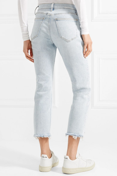 c3c184b788d3b4 Current/Elliott - The Cropped Distressed Mid-rise Straight-leg Jeans - Light