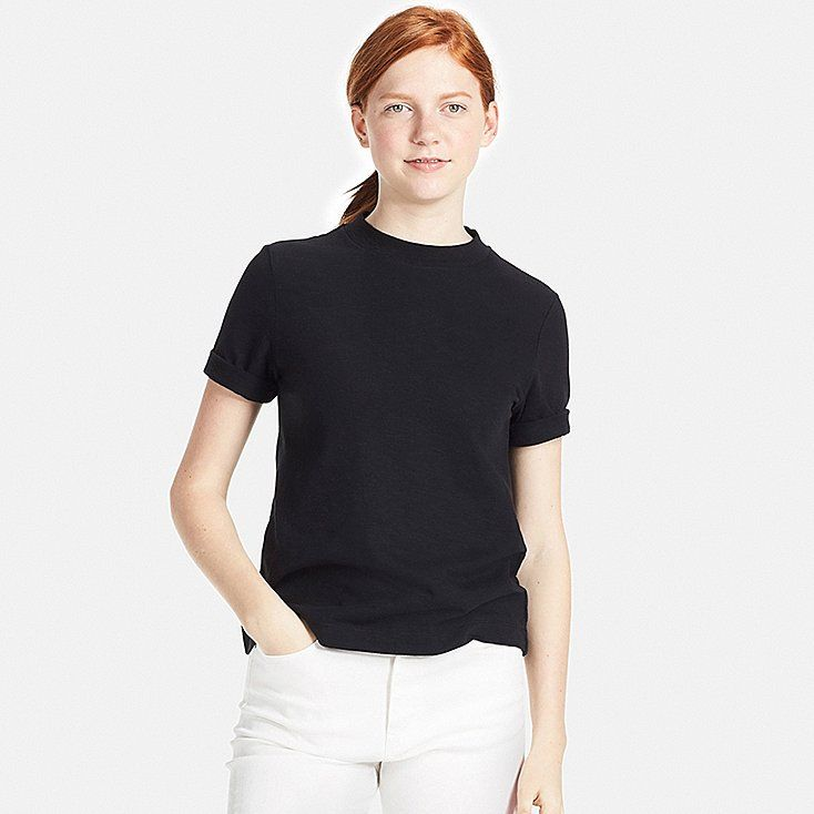 Women slub high neck short sleeve t shirt | T shirts for