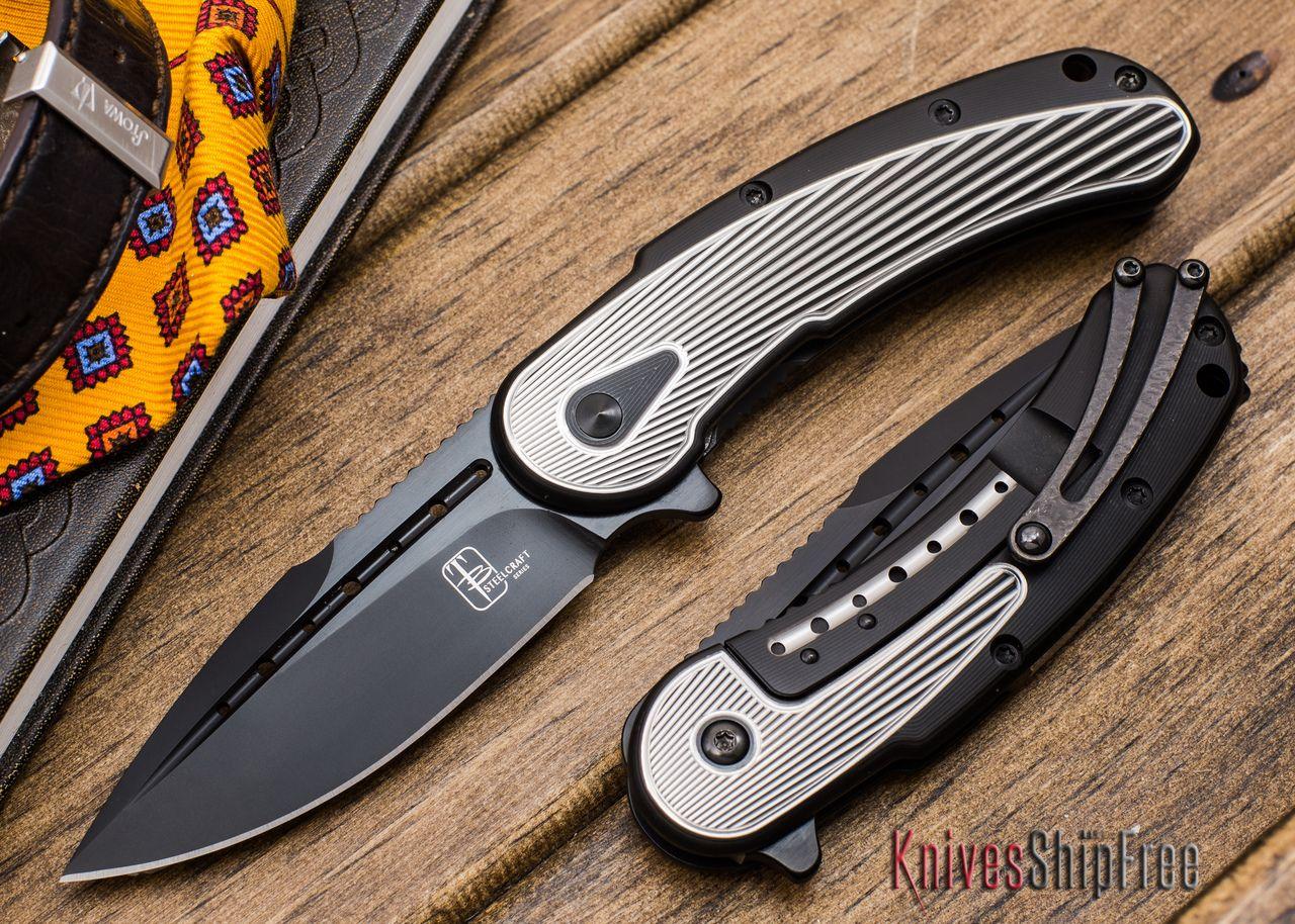 Todd Begg Knives: Steelcraft Series - Mini-Bodega - Gold & Blue - Satin Finish Fan Pattern