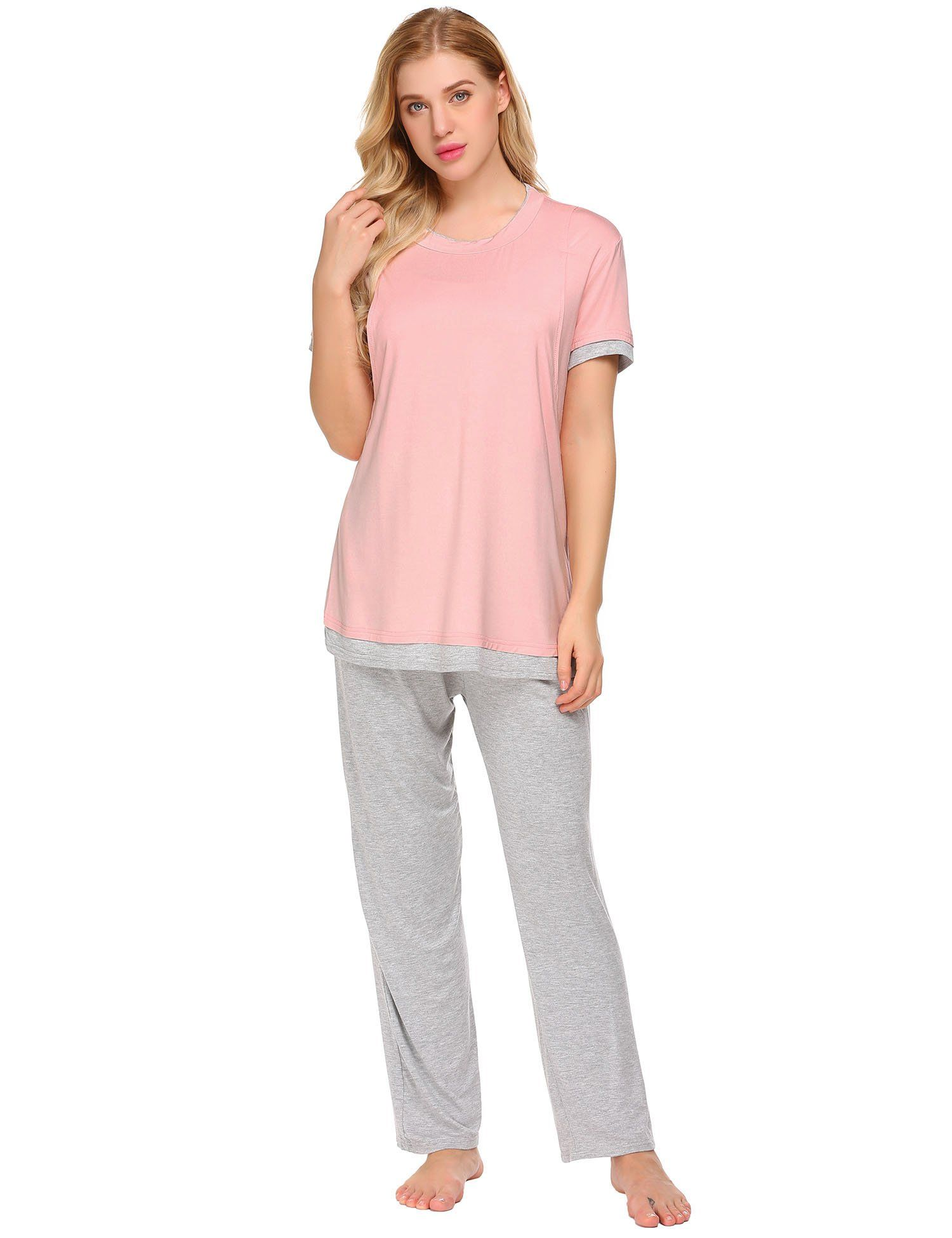 1959df38271e6 nursing tops - Ekouaer Hospital SleepwearShort Sleeve Shirt and Long Pants  Maternity PjsPinkL -- A lot more details could be found at the image link.