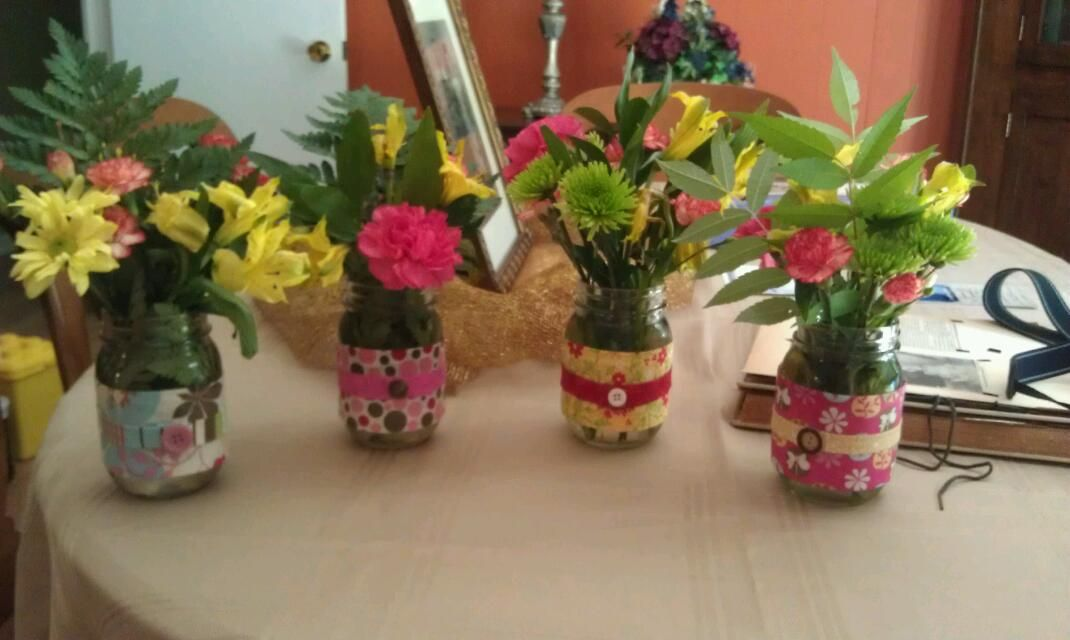 Mason jar vases I made for my parents anniversary cookout.