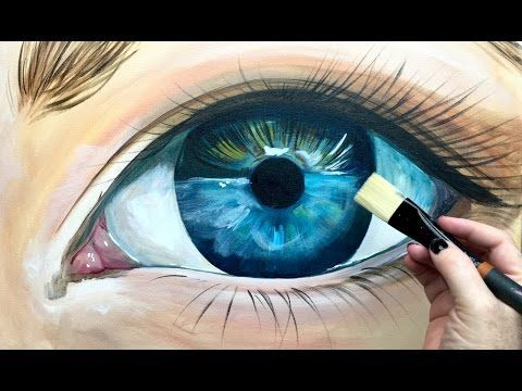 Beginner Learn to paint Realistic Eye in acrylic - YouTube