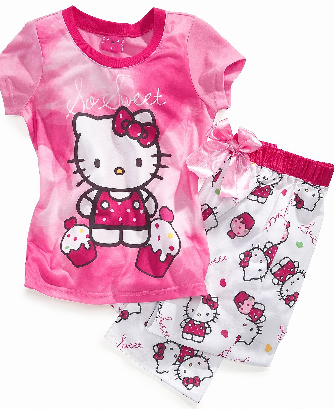 AME Kids Set, Girls or Little Girls 2-Piece Hello Kitty Pajamas ...