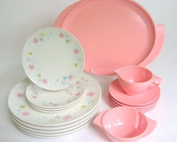 17 Pc Vintage Melamine Dinnerware Set Boontonware Pink White Melmac Dishes With Flowers