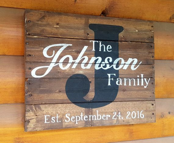 Hand Painted Wood Pallet Sign Family Name Sign Painting On Pallet Wood Wood Pallet Signs Pallet Signs Family