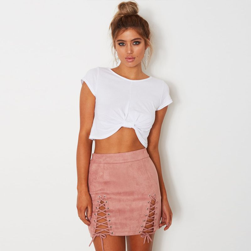 Cool Sibybo Summer Suede Leather Lace Up Women Pencil Skirt 2017 High Waist  Vintage Zipper Split Bodycon Mini Short Skirts Womens - Buy it Now! 42576e147b88
