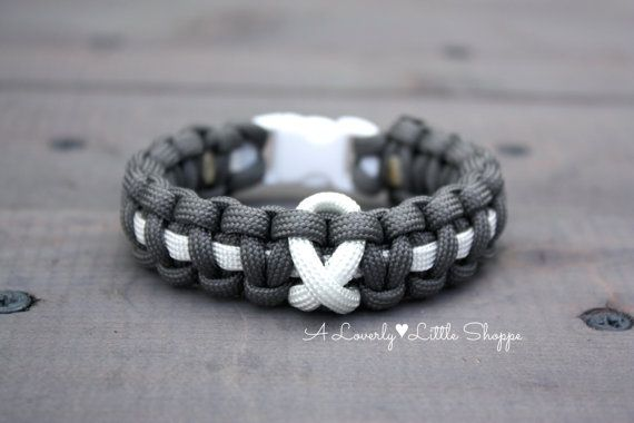 Lung Cancer Awareness Paracord Bracelet Disease White