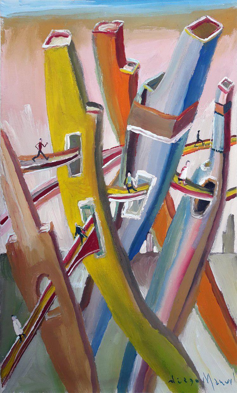 """""""Ciudad con puentes"""", acrylic on canvas, 30x 22 cm., year 2003."""