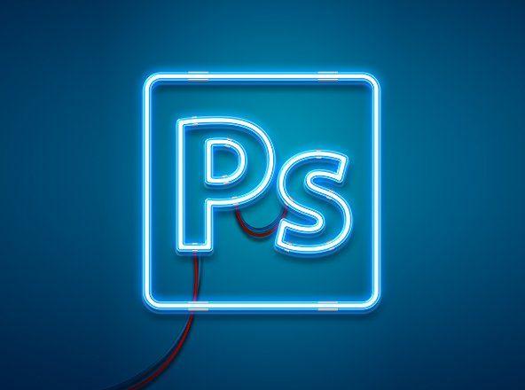 Neon Light Photoshop Effect Mockup   Design   Photoshop