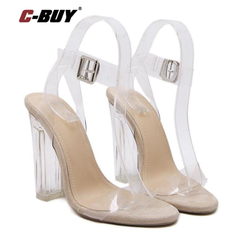 Women Sandals 2017 Summer Hhigh Heels Sandals Women Shoes Crystal Clear Transparent ankle Strap Party Shoes Sandals Women z70(China (Mainland))