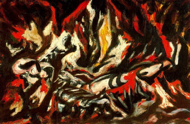 """""""The Flame"""", Oil On Canvas by Jackson Pollock (1912-1956, United States)"""