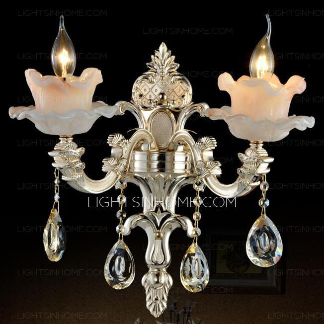 Luxury 2 Light Alloy Crystal Wall Sconce Candle Holder