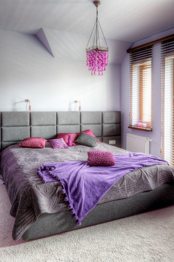 Szaro Różowa Sypialnia Wnętrza Wnętrze Dekoracje Do