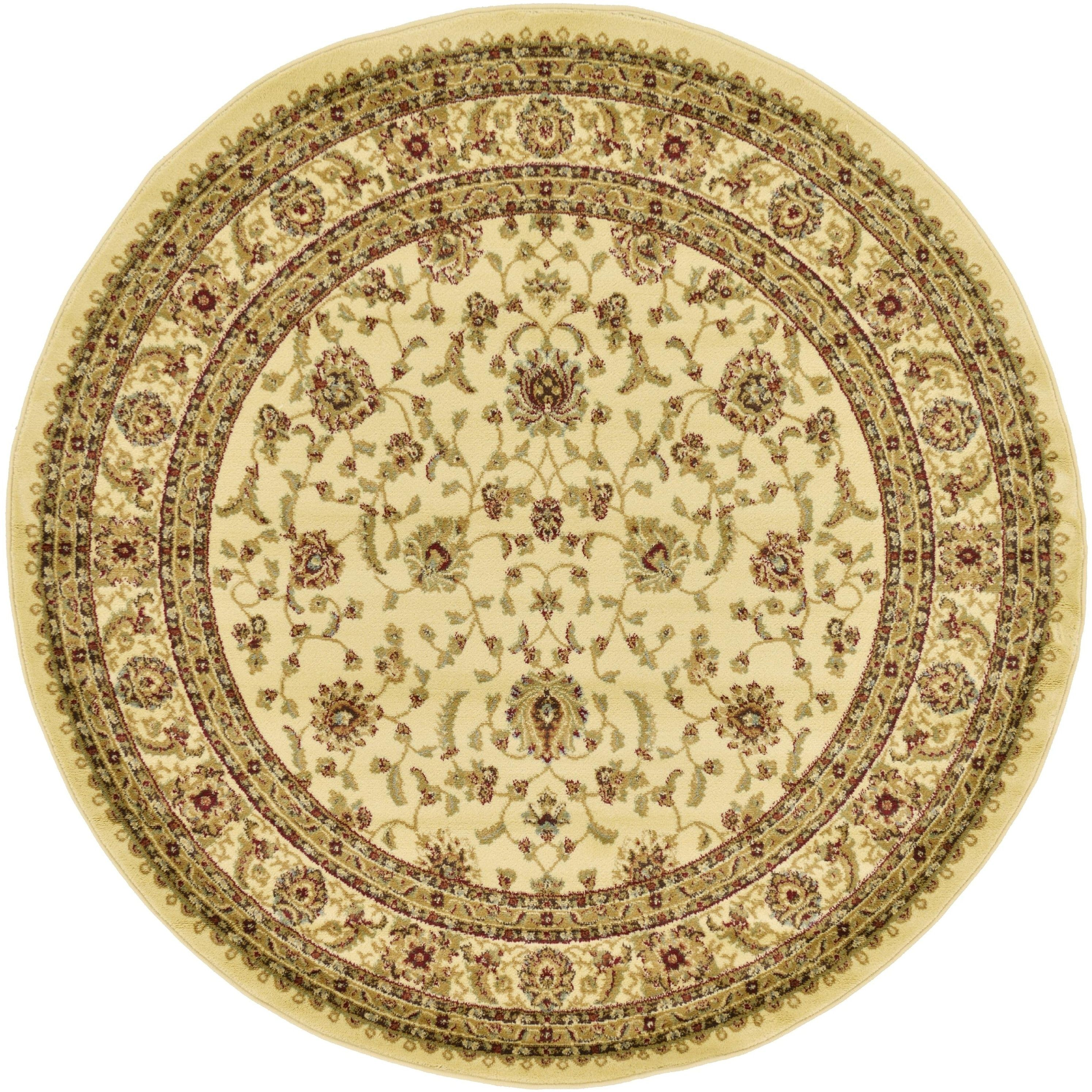 Unique Agra Fl Round Area Rug 6 Blue Size X Polypropylene Abstract