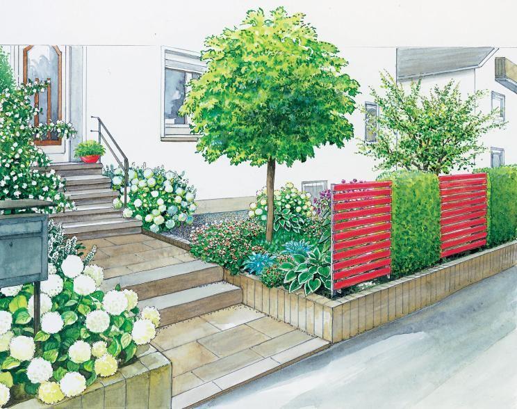 Gartenideen für einen pflegeleichten Vorgarten