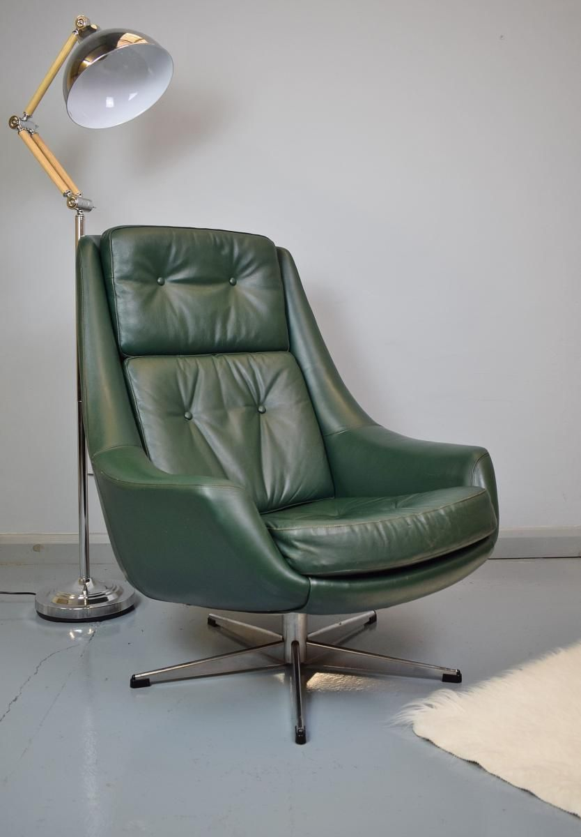 Mid Century Danish Green Leather Swivel Lounge Chair By H.W. Klein For  Bramin 2