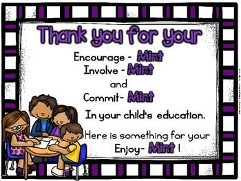 mint sign open house parent thank you freebie back to school