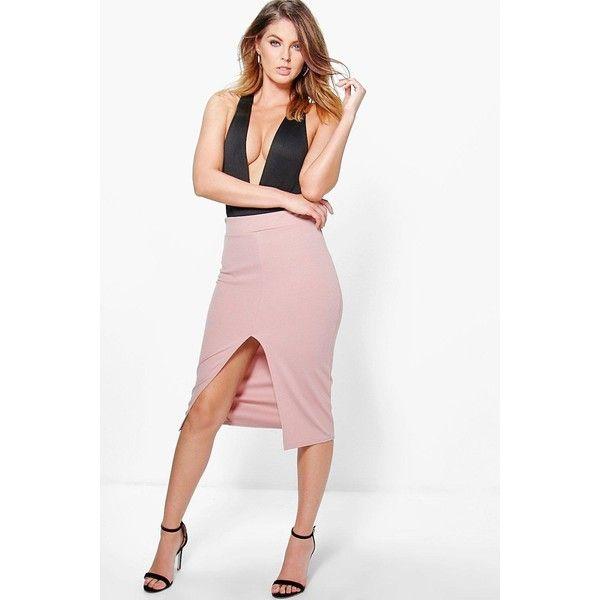 Boohoo Night Megzhan Front Split Scuba Longer Line Midi Skirt (105 HRK) ❤ liked on Polyvore featuring skirts, rose, cocktail skirt, calf length skirts, pin skirt, evening skirts and white skirt
