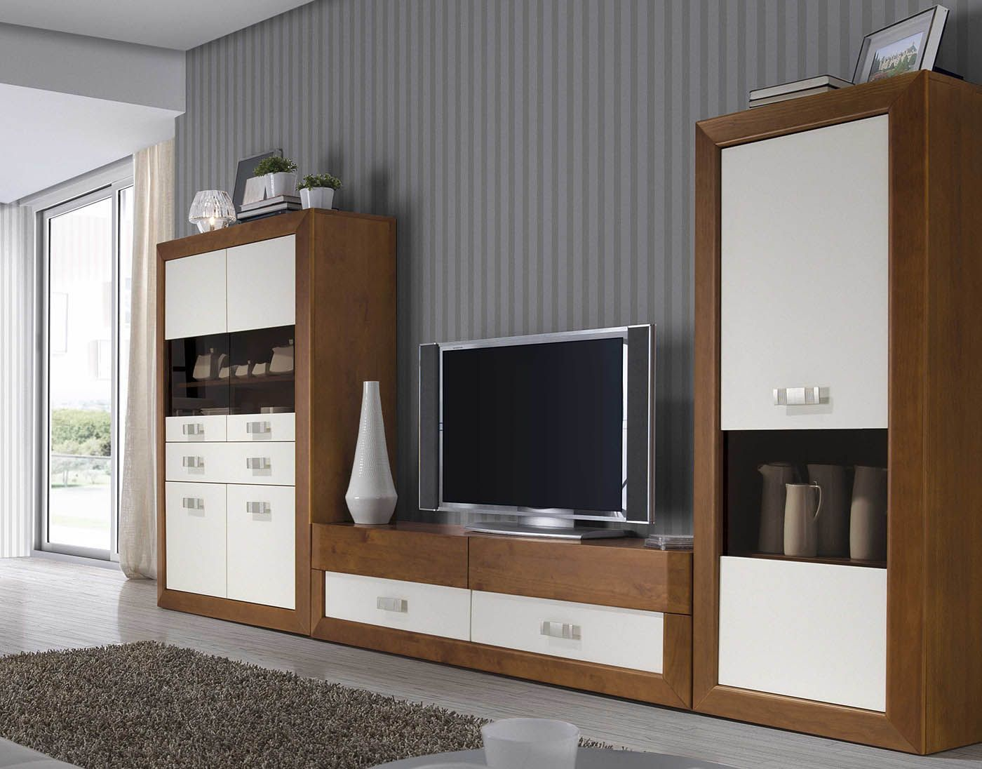 Salon Modular En Medida De 3 26m De Madera De Pino Maciza En Color Nogal Combinado Blanco Disponible En Otros Colores Y Medidas Home Furniture Home Decor