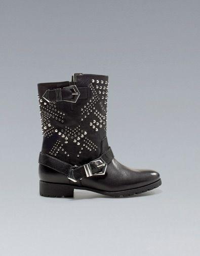 Grunge style? always in! now on Zara stores - STUDDED BIKER LOW CUT