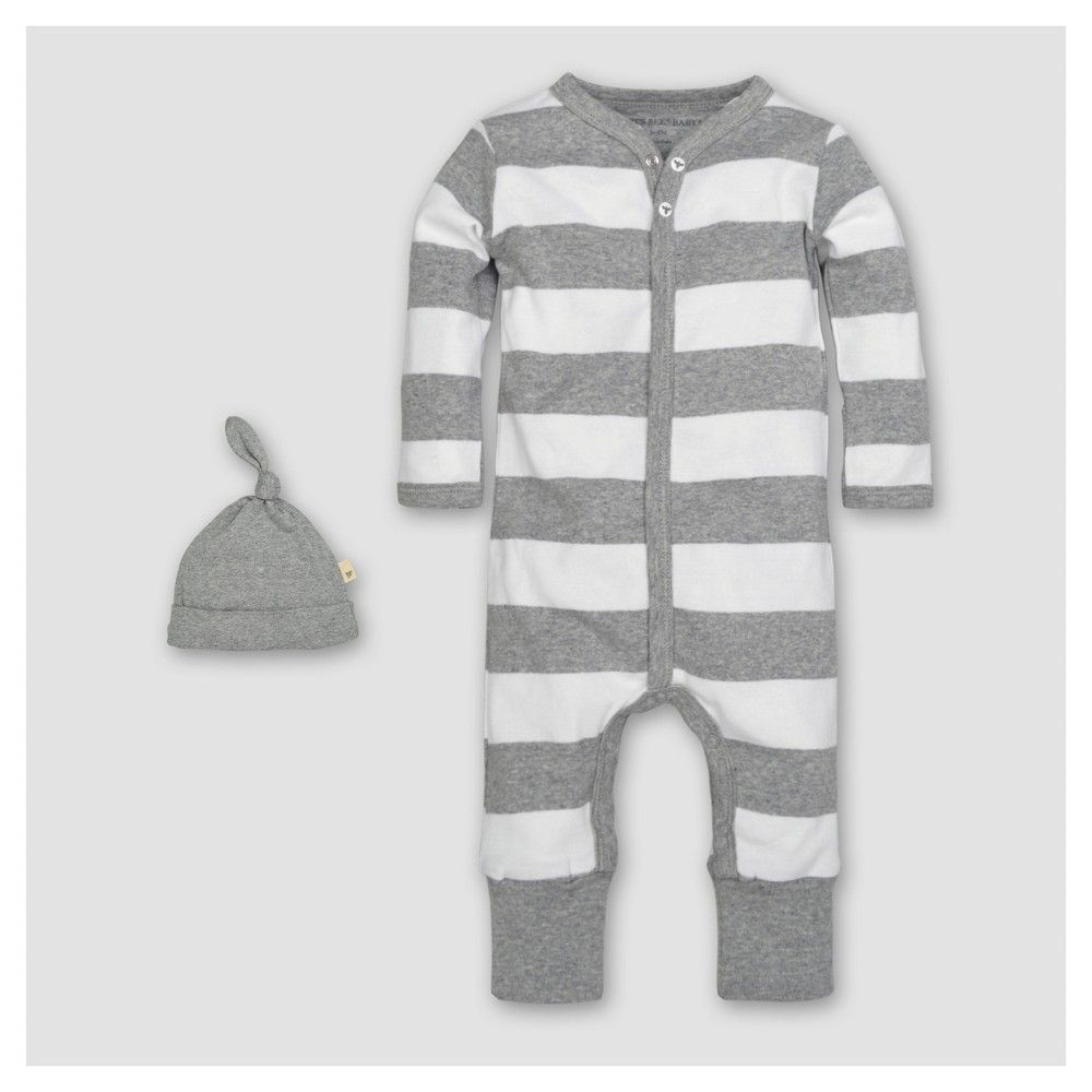 4715914e881 Burt s Bees Baby Organic Cotton Long Sleeve Rugby Stripe Convertible  Coverall   Hat Set 2pc - Heather Gray 3-6 M