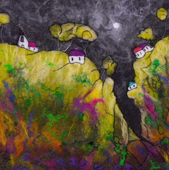 Fantasy Landscape Wet Felted Textile Art. Wall Hanging by LJSoar ...