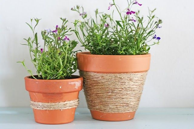 twine wrapped clay pots | flower pot | Pinterest